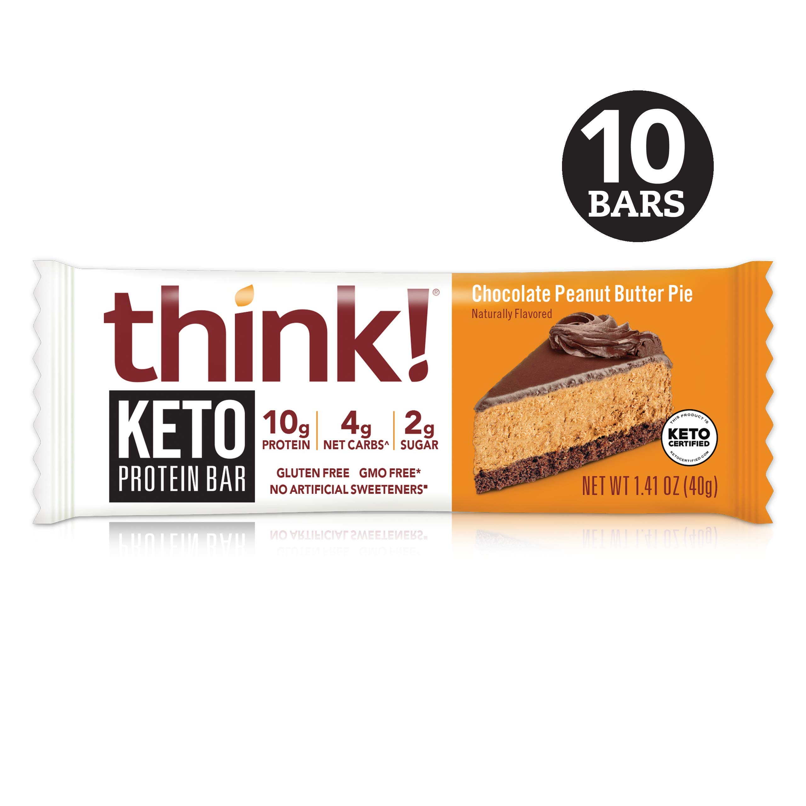 think! Keto Protein Bars - Chocolate Peanut Butter Pie, 10g Protein, 4g Net Carbs, 2g Sugar, No Artificial Sweeteners, Gluten Free, GMO Free, Keto Certified, 1.4 oz bar (10 Count) by think!