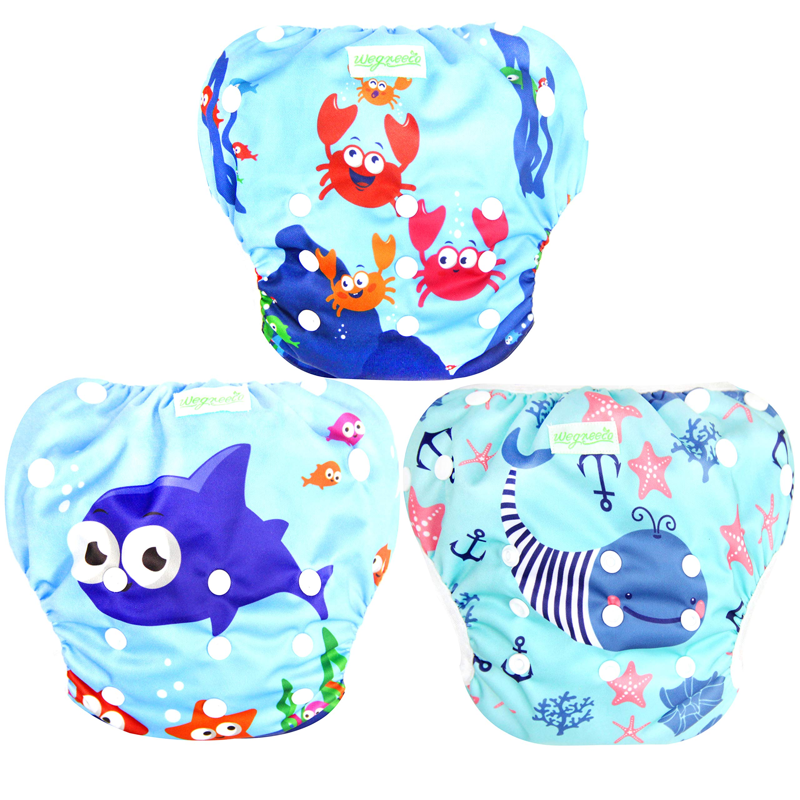 Wegreeco Baby & Toddler Snap One Size Adjustable Reusable Baby Swim Diaper ( Sea-Elves, Large, 3 Pack) by wegreeco