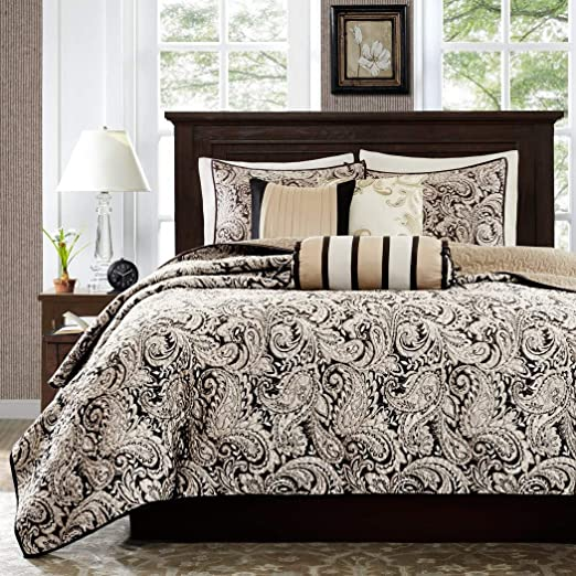 Amazon.com: 6 Piece Black White Paisley Coverlet King/Cal King Set