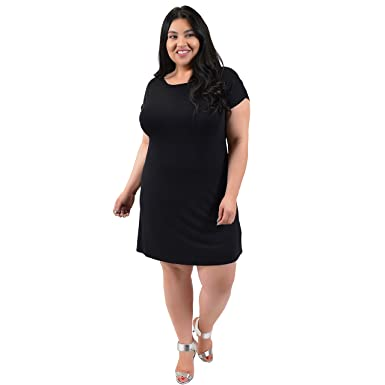 Stretch is Comfort Women\'s Plus Size Short Sleeve Boatneck Shift Dress