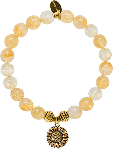 Natural Citrine 8mm round Beads stretch Bracelets with alloy Charm 7 inch