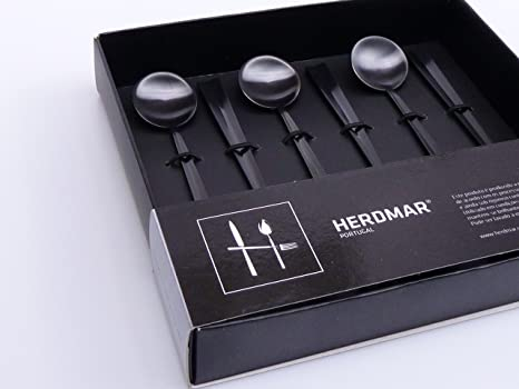 6 Tea Spoons/Té Cuchara Naga Saki in Black Mate de herdmar