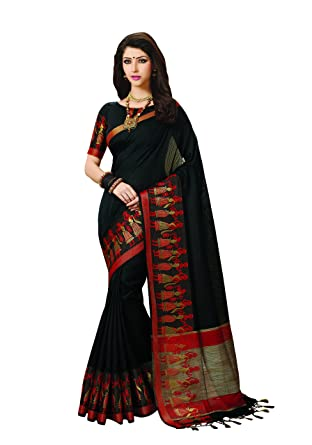0a22b4becc Image Unavailable. Image not available for. Colour: Meghdoot Black Colour  Artificial Tussar Silk Saree ...