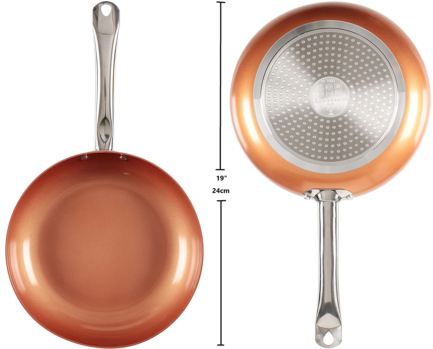 Tristar Products KC15057-02000 Round Chef Pan with Glass Lid, 10, Copper 10