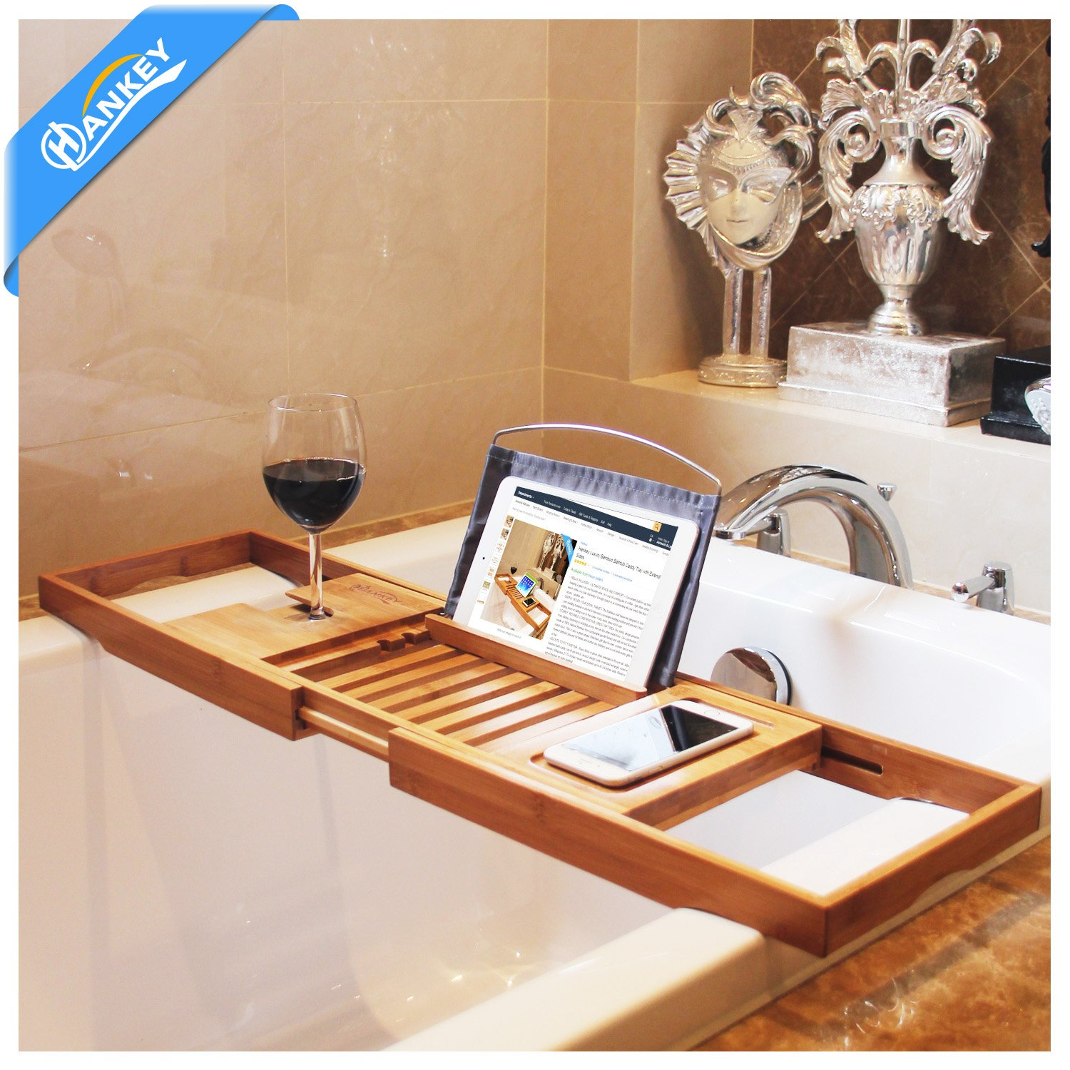 bamboo bathtub caddy tray extendable luxury spa organizer with folding sides natural