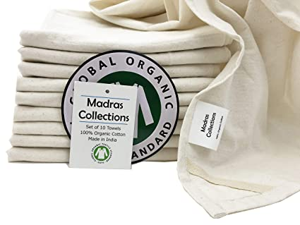 Madras Collections ORGANIC Cotton Kitchen Vintage Flour Sack Kitchen Dish  Towel, Commercial Restaurant Grade,