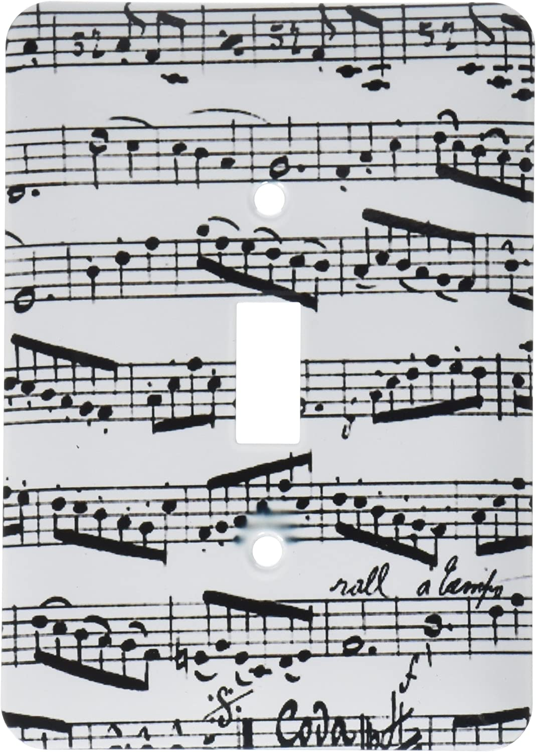 3dRose lsp_179702_1 Notes Pattern Black and White Piano Sheet Musical Notation Toggle Switch, Multicolor