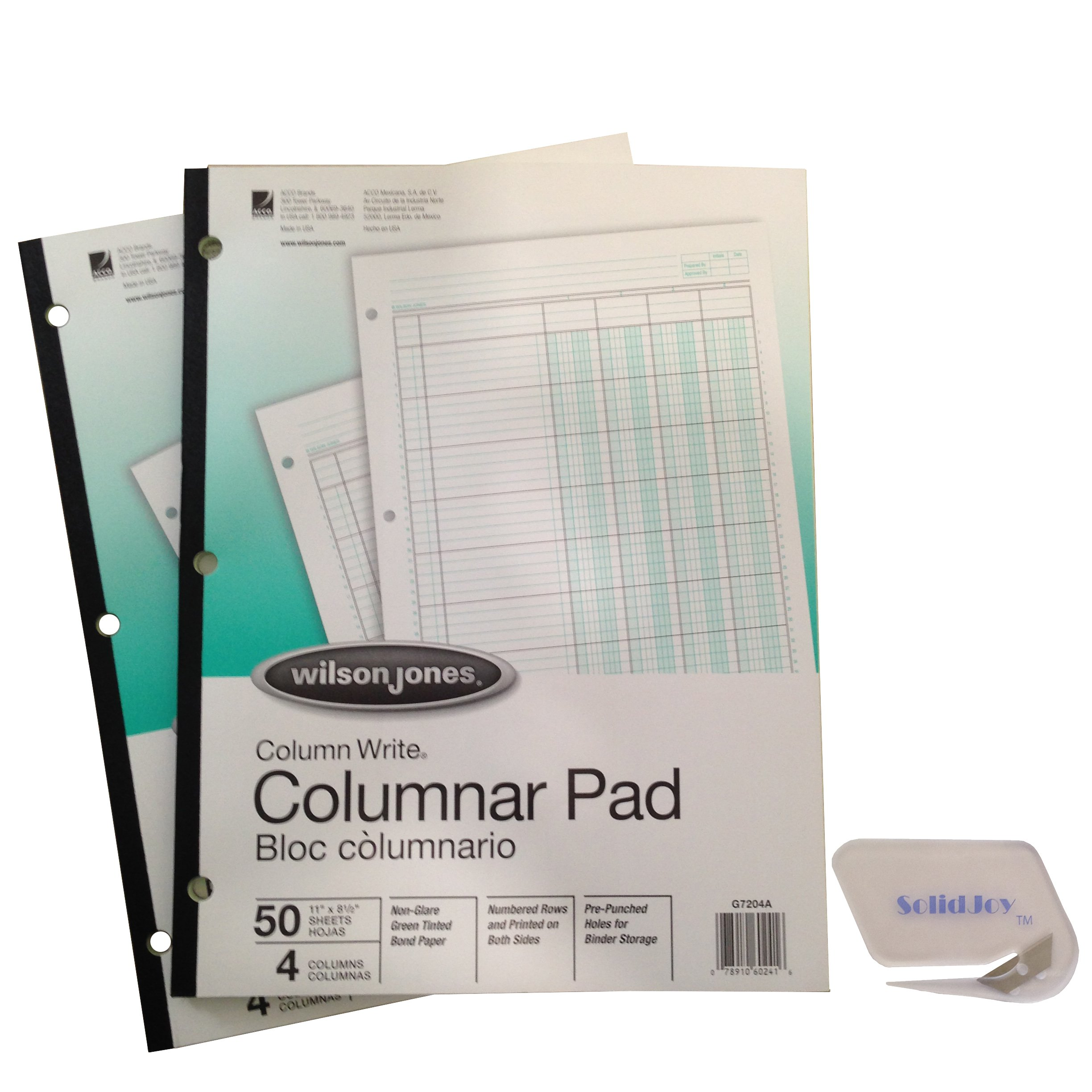 2 Pack – Wilson Jones ColumnWrite Columnar Pads (WG7204A), 11 x 8.5 Inch, 41 Lines per Page, 4 Columns, 50 Sheets a Pad Includes SolidJoy Letter Opener