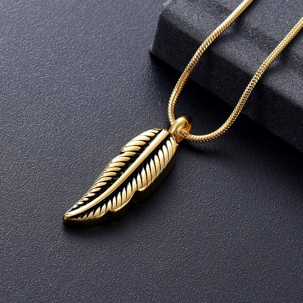 zeqingjw Feather Cremation Jewelry Pendant for Ashes Stainless Steel Memorial Urn Necklace Ashes Holder Keepsake Jewelry