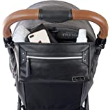 Itzy Ritzy Adjustable Stroller Caddy - Stroller Organizer Featuring Two Built-in Pockets, Front Zippered Pocket and Adjustable Straps to Fit Nearly Any Stroller, Black with Silver Hardware