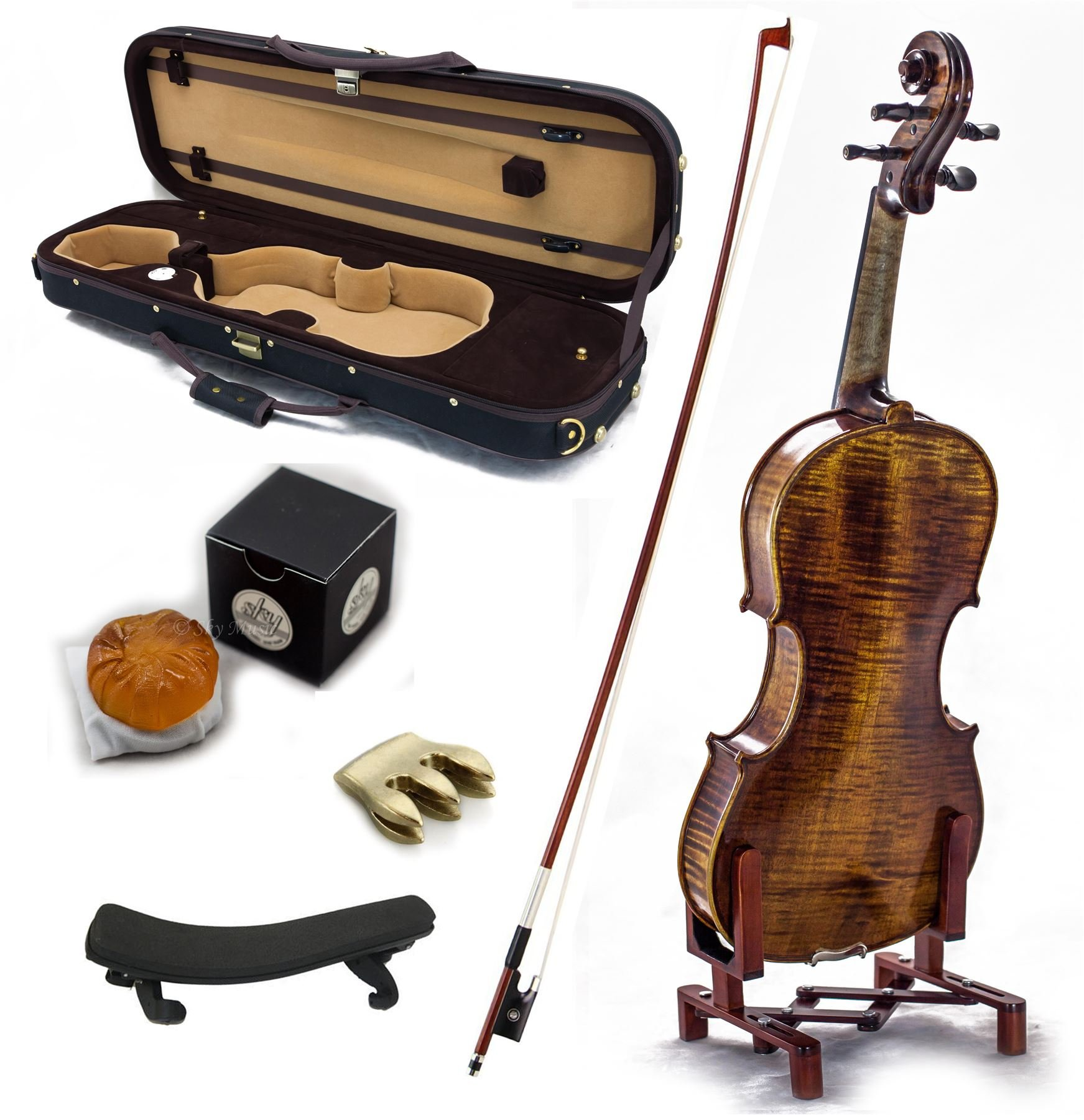 SKY 4/4 Full Size Antique Style Professional Handmade VN402 Violin Kit w Case Bow Rosin Mute