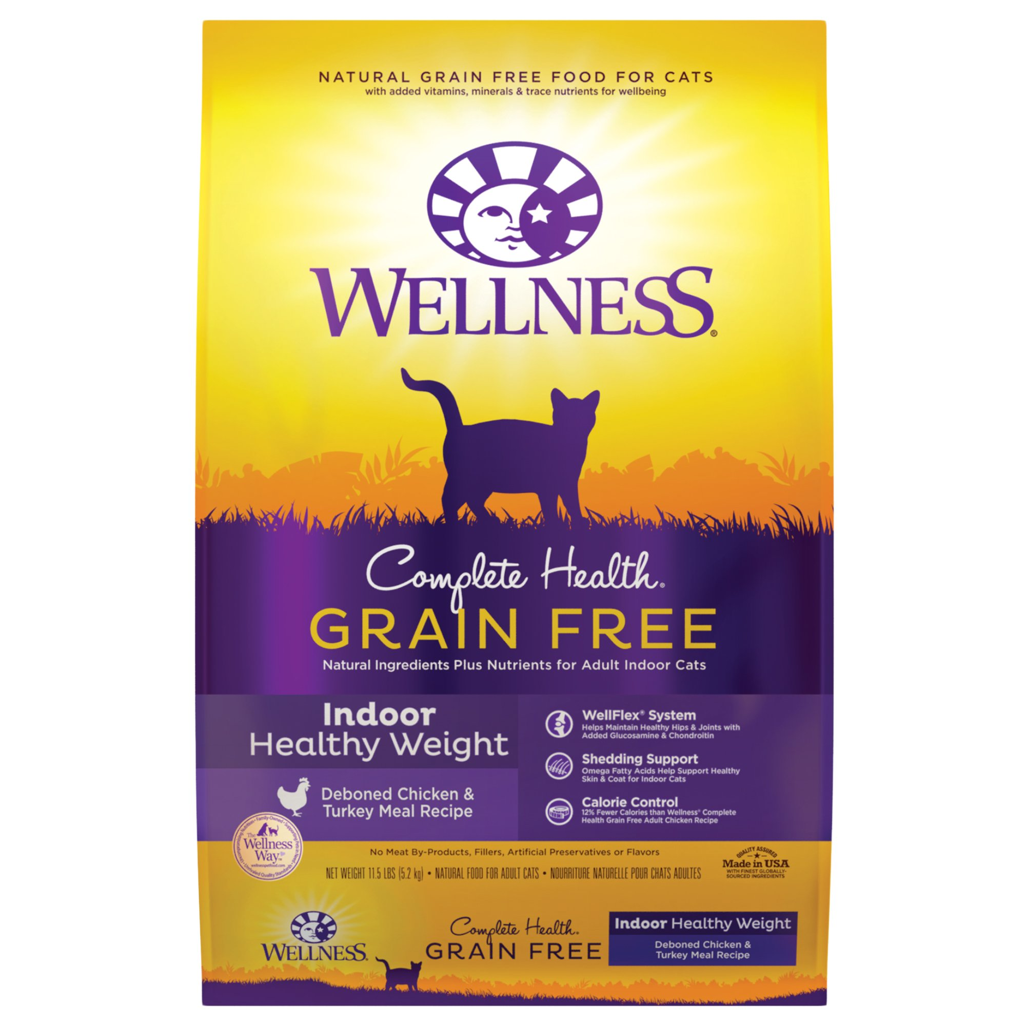Wellness Complete Health Grain Free Natural Dry Cat Food, Indoor Healthy Weight Chicken Recipe, 11.5-Pound Bag by Wellness Natural Pet Food
