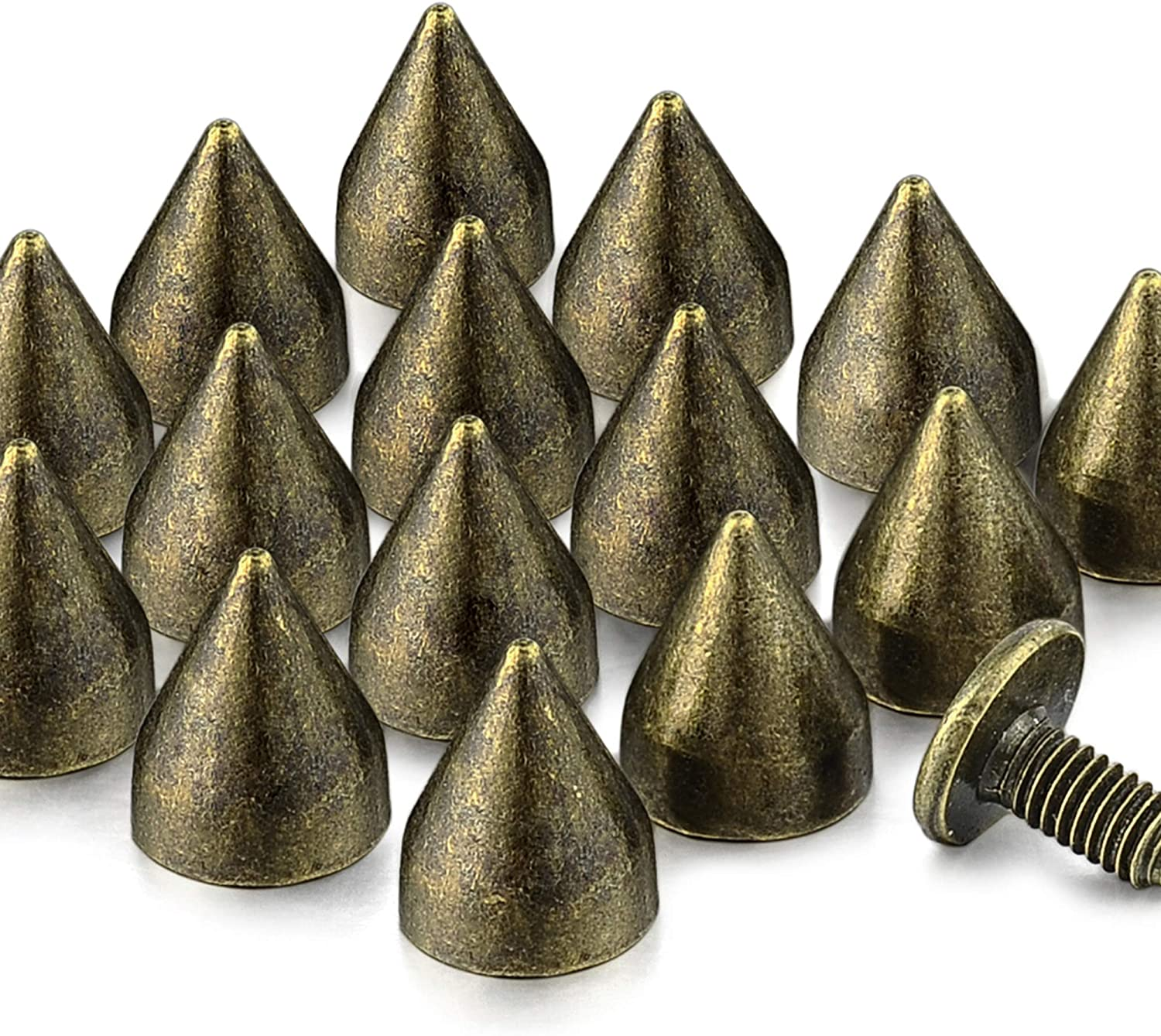 100 Sets 9MM Bronze Spikes and Studs Metal Bullet Cone Spikes Screw Back Leather Craft Rapid Rivet Screws Punk Studs and Spikes for Clothing Shoes Leather Belts Bag Accessories 11//32 Inch