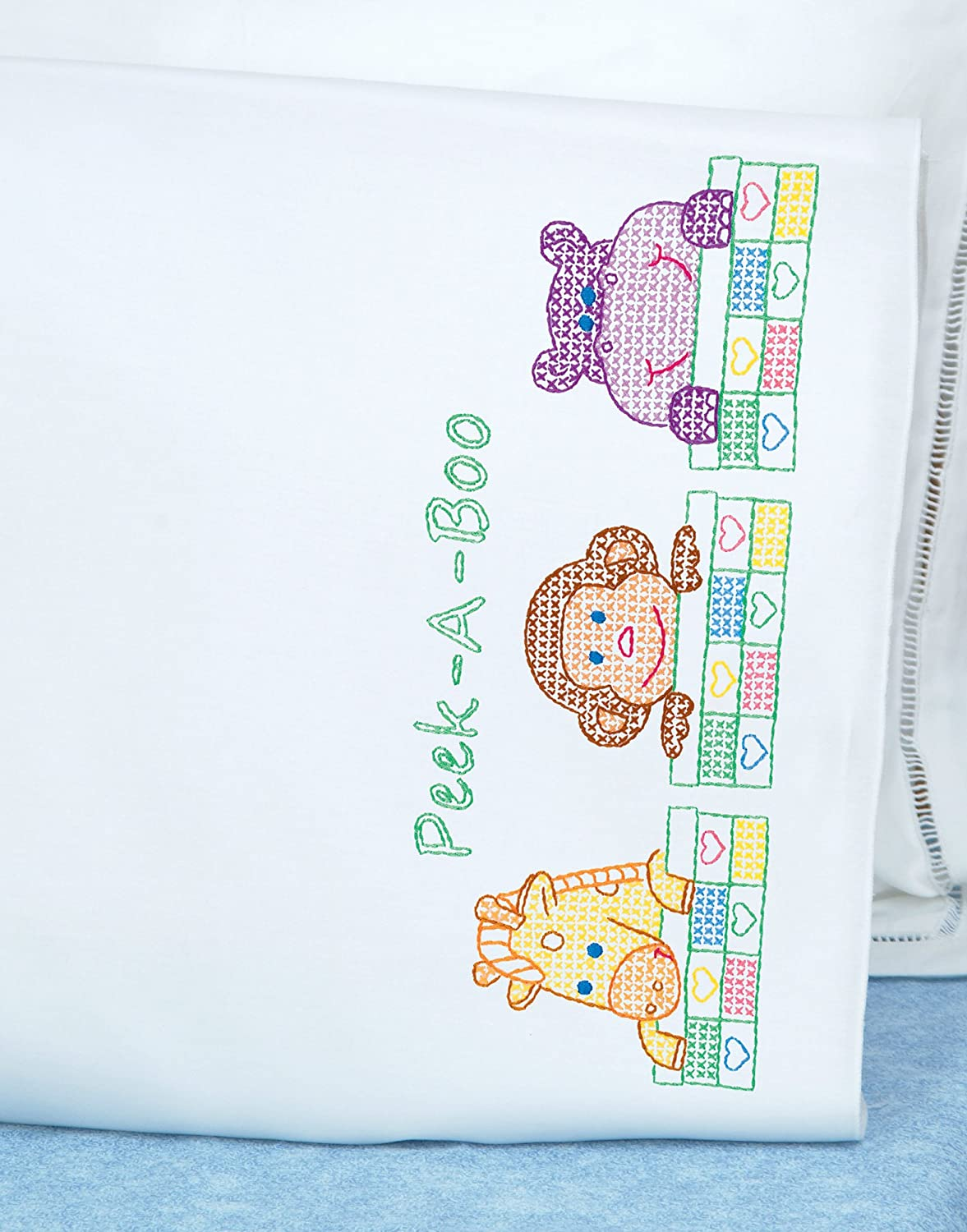 Peek a Boo with Perle Edge Finish White 20-Inch by 30-Inch Jack Dempsey Needle Art 1605124 Childrens Pillowcase