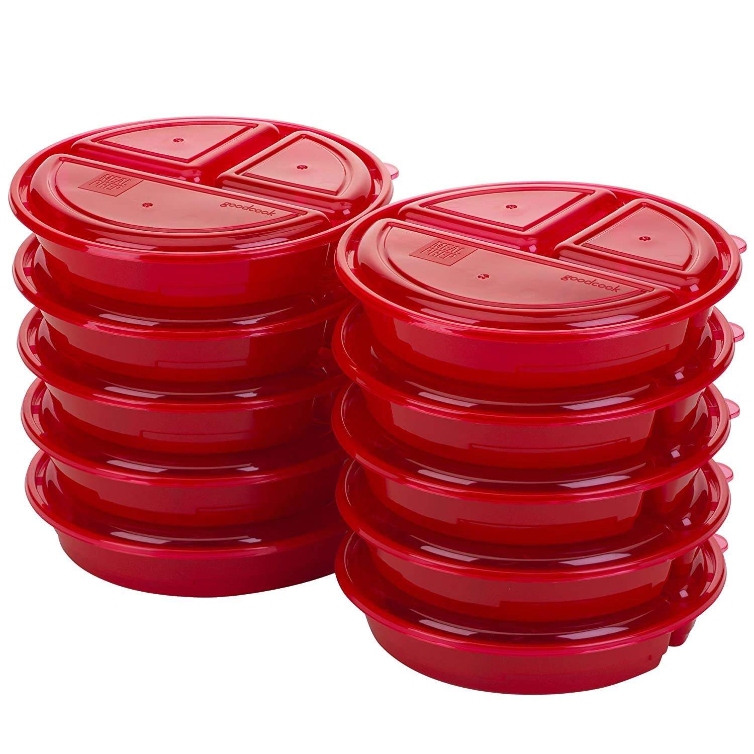 Good Cook 10787 Meal Prep on Fleek, 3 Compartments BPA Free,  Microwavable/Dishwasher/Freezer Safe, Red