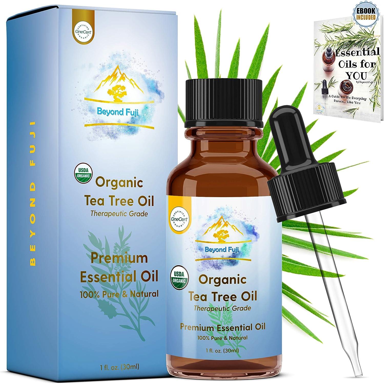 Organic Tea Tree Essential Oil - 100% PURE USDA Cert. Antifungal, Antibacterial, Therapeutic, All-Natural Extract for Aromatherapy, Acne, Skin, Hair, Dandruff, Nail Melaleuca Alternifolia & E-Book 1oz