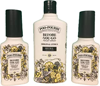 product image for Poo-Pourri Before-You-Go Toilet Spray Extra Value Pack (2) 3.4 Ounce Bottle and 9 Ounce Refill Value Size Bottle, Original Citrus