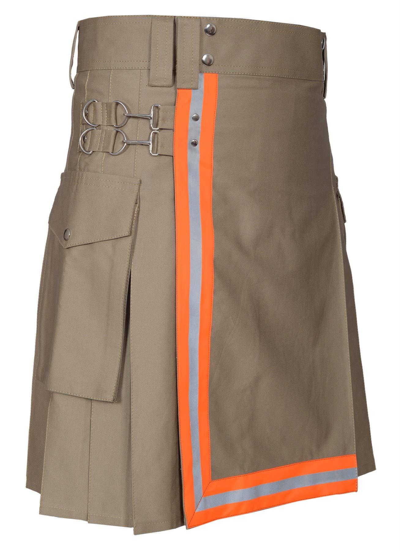 Men Utility Kilt Black (44, Khaki With Orange Reflector)