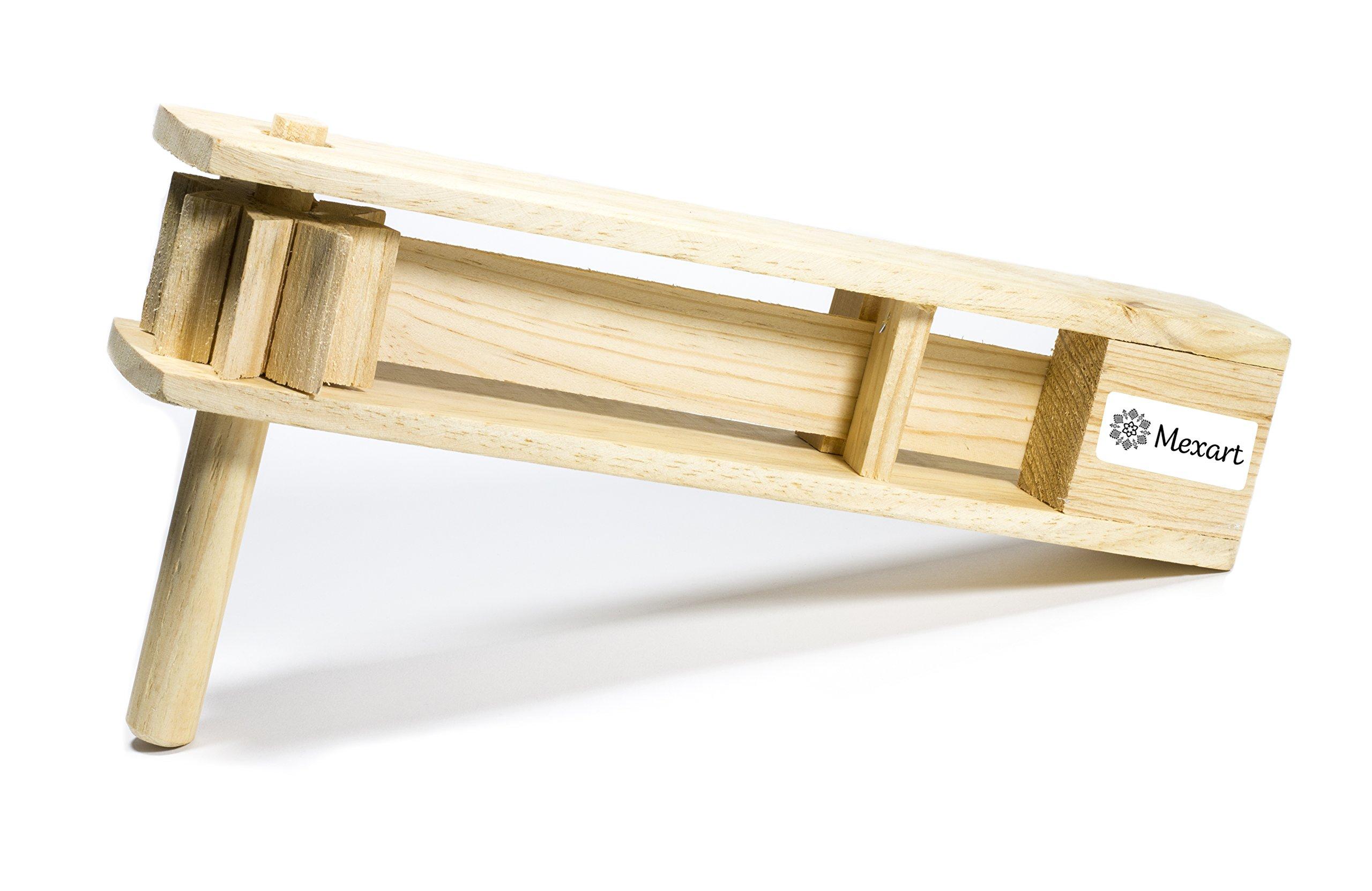 MexART Wooden Handmade Noisemaker Grogger, Matraca Ratchet Sports Loud 15'' Long by MexART