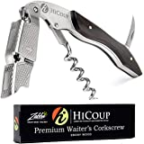 Waiters Corkscrew by HiCoup - Professional Ebony Wood All-in-one Corkscrew, Bottle Opener and Foil Cutter, the Favoured…