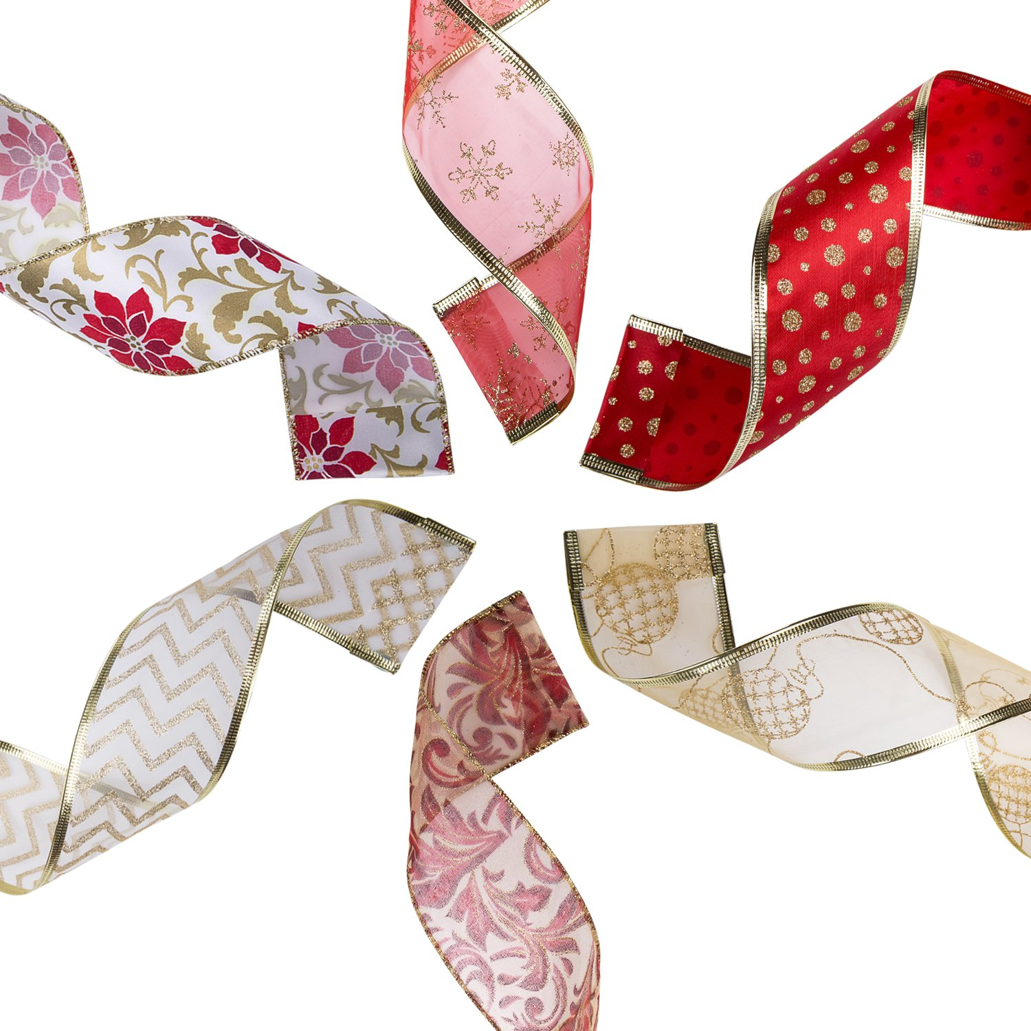 Amazon.com: iPEGTOP Wired Christmas Ribbon, Assorted Shimmer Organza ...
