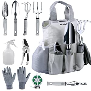 NOUVCOO 10 Pcs Garden Tools Set for Women Men with Plant Ties, Stainless Steel Hand Tool Kit,Durable Storage Tote Bag,Pruner,Shovel,Fork,Rake,Shears,Weeder,Gloves,Water Sprayer,Plant Ties