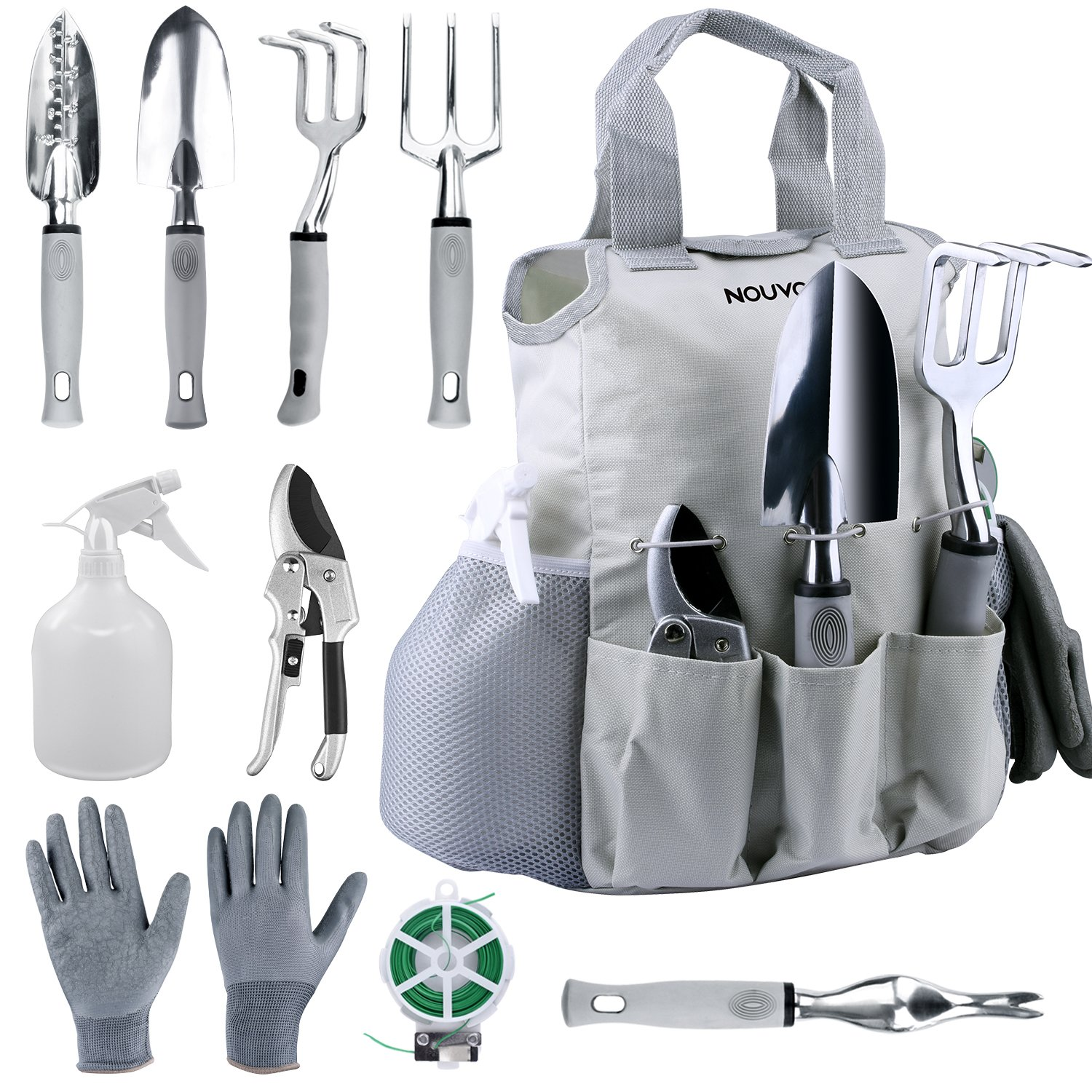 NOUVCOO NC24 Garden Tool Set with Plant Ties,10 Pieces Stainless Steel Hand, Grey