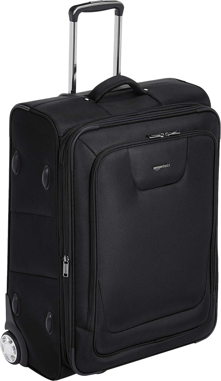 AmazonBasics – Maleta blanda expansible con candado TSA y ruedas, 66 cm, negro