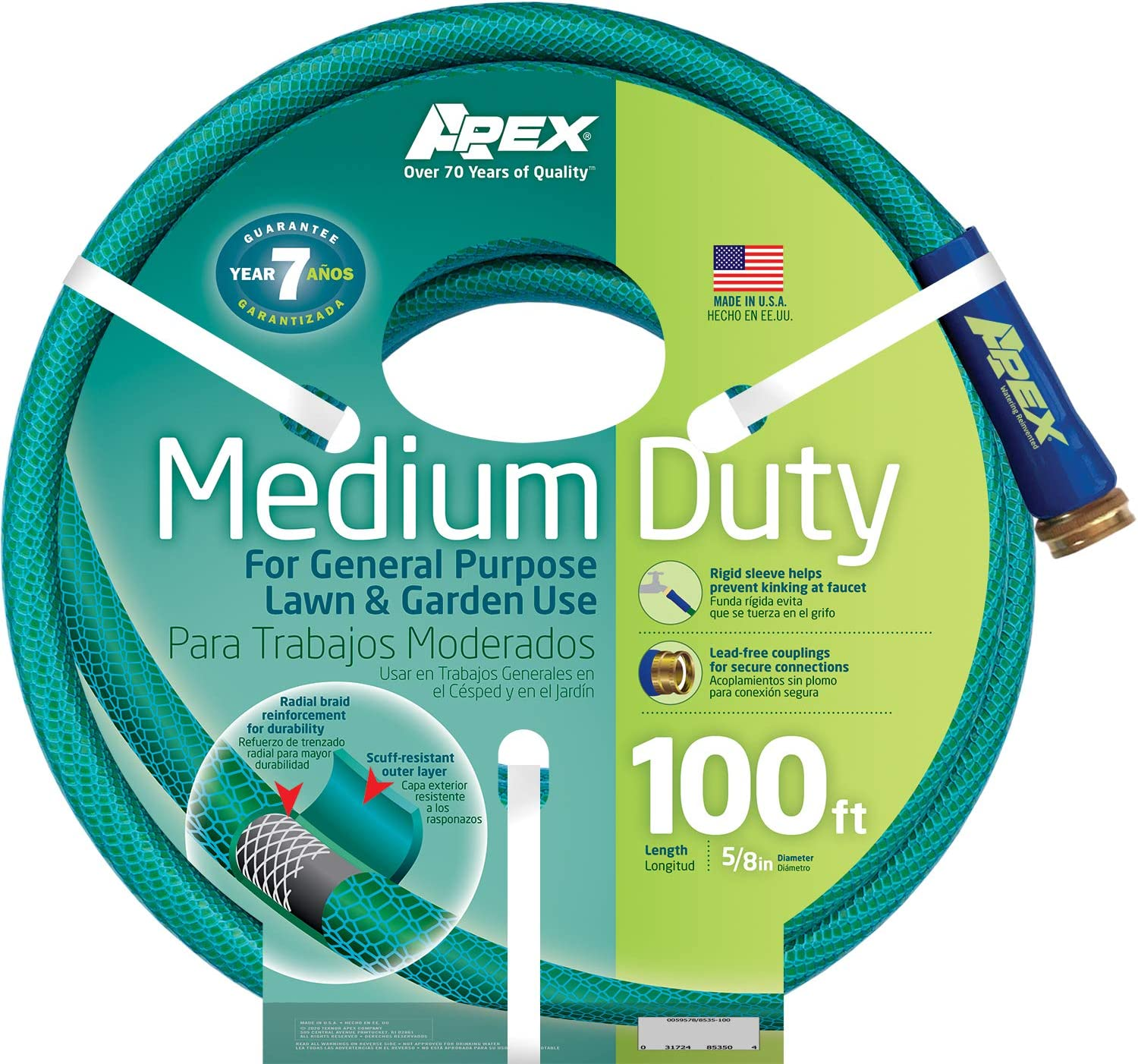 Apex, 8535-100, Medium Duty Garden Hose, 5/8-Inch by 100 Feet