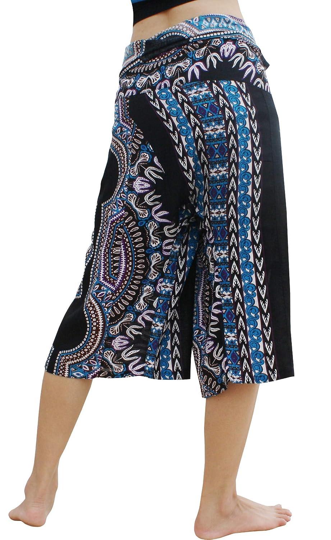 Medium Full Funk Light Viscose Rayon Fisherman Pants Capri Shorts Elephant Print Dashiki Pattern A Black Dark Blue