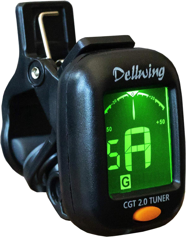 Dellwing - Afinador para guitarra, violín, ukelele y guitarra baja, afinador para guitarra, afinador con pinza, incluye batería, diseño ultraligero