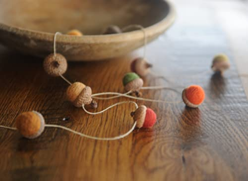 Felted Acorn Garland Colorful Wool Garland