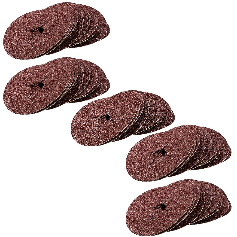 50pc 115mm (4.5') Fibre Discs 36 Grit Abrasive Sanding Disc Wood Metal Masonry AB Tools