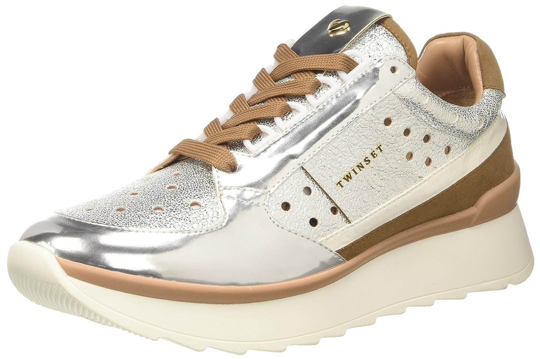 Twin Set Cs8pkc, Zapatillas de Gimnasia para Mujer 37 EU|Plateado (Argento)