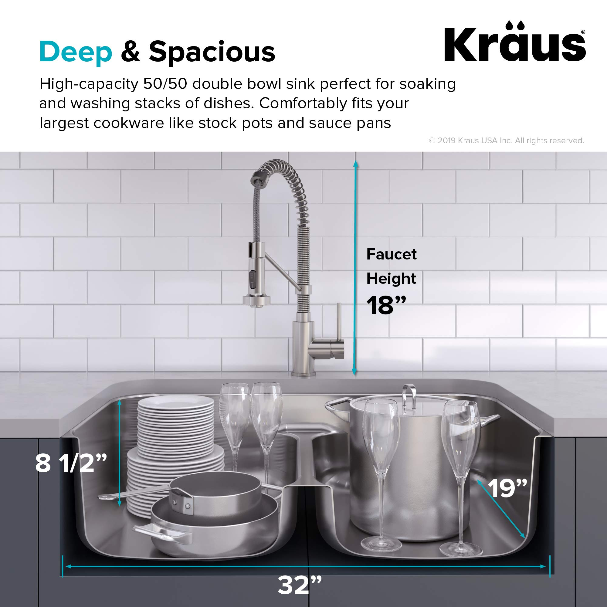 KRAUS KCA-1200 Ellis Kitchen Combo Set with 33-inch 16 Gauge Undermount Kitchen Sink and Bolden 18-inch Pull-Down Commercial Style Kitchen Faucet, Stainless Steel Finish by Kraus (Image #5)