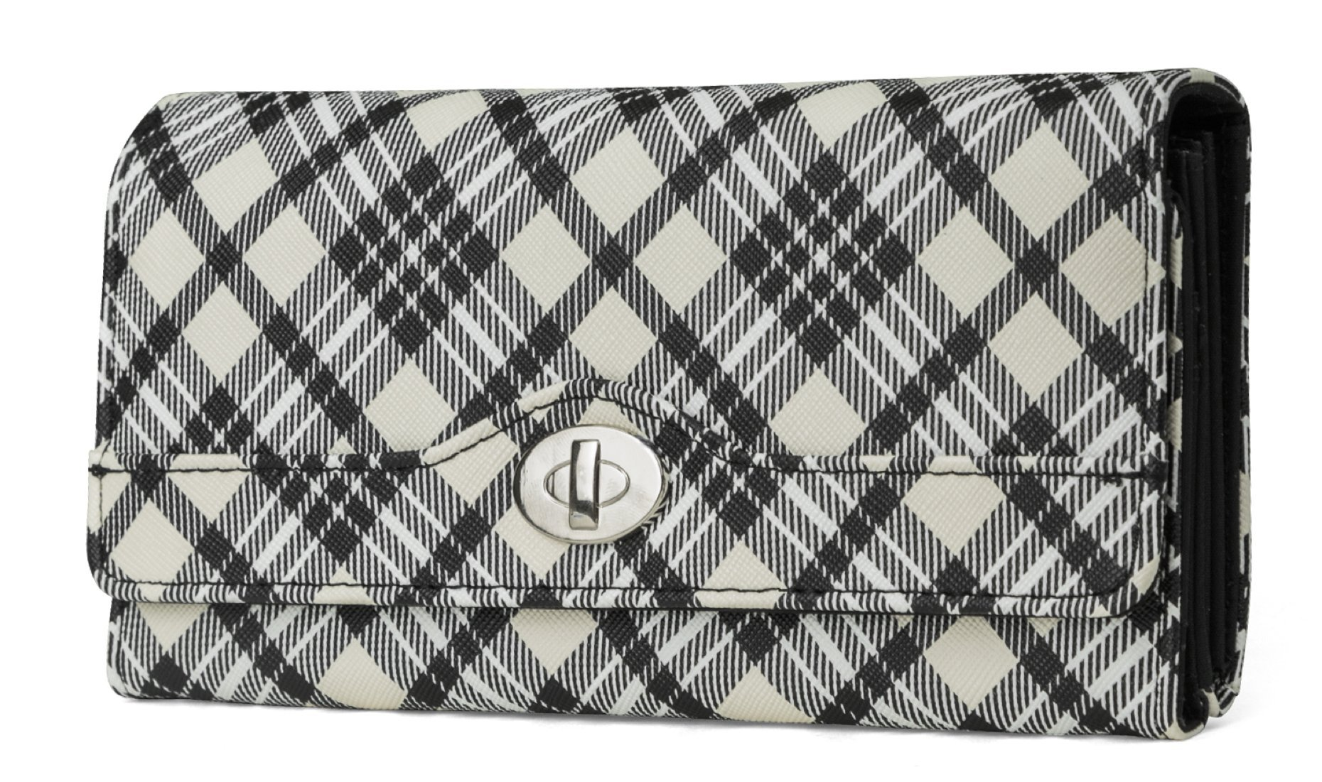 Mundi File Master Womens RFID Blocking Wallet Clutch Organizer With Change Pocket (Plaid)