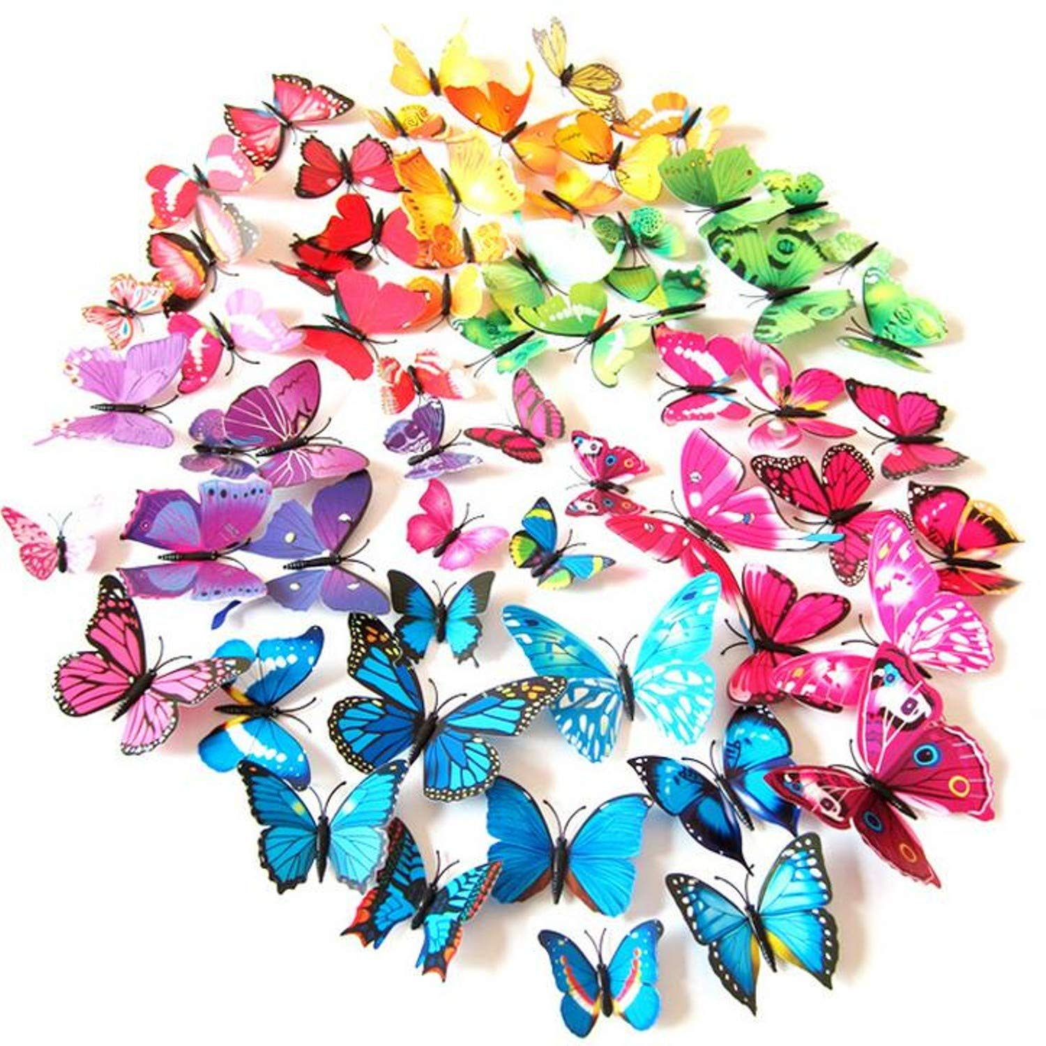 Amazon.com: Batop (12 Pcs/Lot PVC 3D DIY Butterfly Wall Stickers - Home Decor Poster for Kitchen Bathroom - Fridge Adhesive to Wall Decals Decoration ...