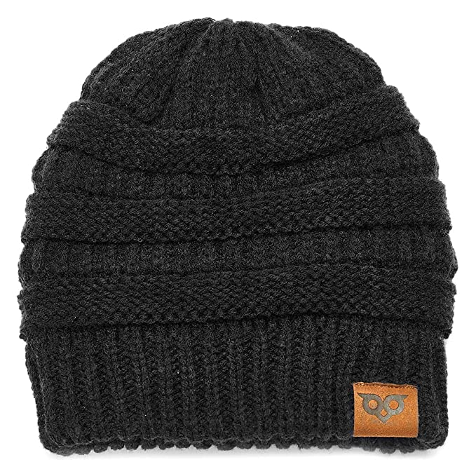 83d11b9b YOOWL Knits Beanie Hat Thick Soft Winter Unisex Hat Warm Stretch Ponytail  Cable Fuzzy Lined Hat