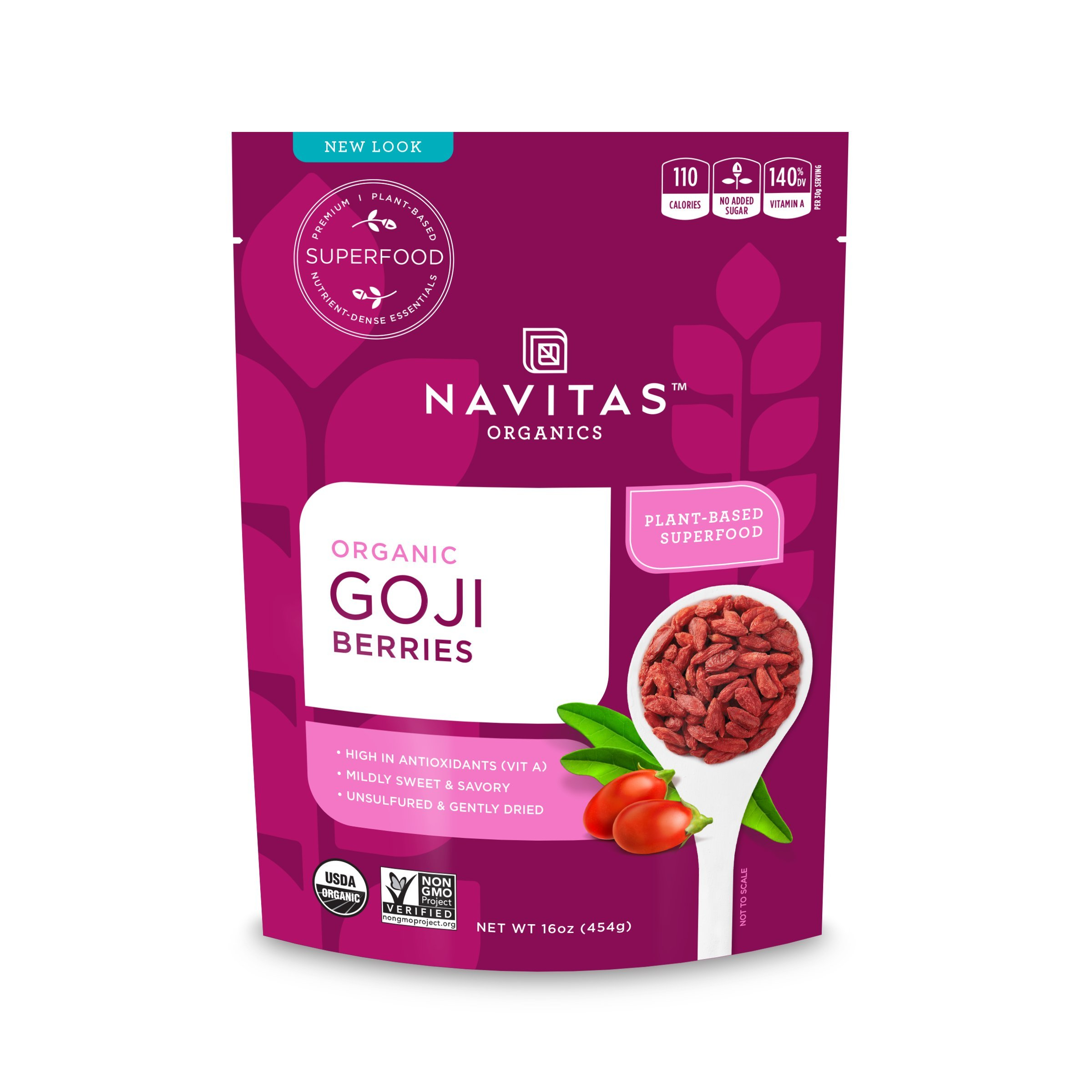 Navitas Organics Goji Berries, 16 oz. Bag — Organic, Non-GMO, Sun-Dried, Sulfite-Free