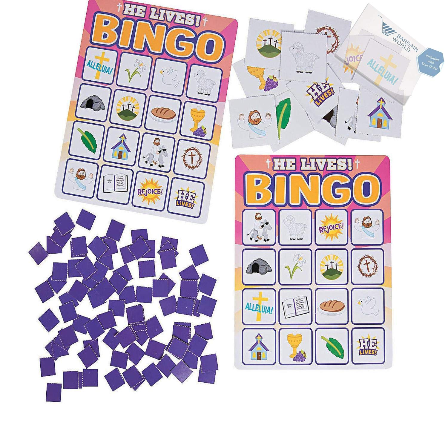 Bargain World He Lives Bingo Game (With Sticky Notes)