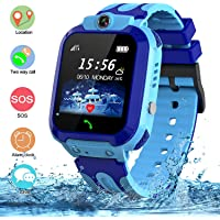 SZBXD Kids Waterproof Smart Watch, GPS Tracker Phone SOS Anti-Lost Alarm Sim Card Slot Touch Screen Voice Chat Smartwatch Birthday for Children Girls Boys Blue