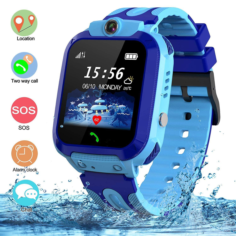 Kids Waterproof Smart Watch, SZBXD GPS Tracker Phone SOS Anti-Lost Alarm Sim Card Slot Touch Screen Voice Chat Smartwatch Birthday for Children Girls Boys (Blue) by SZBXD