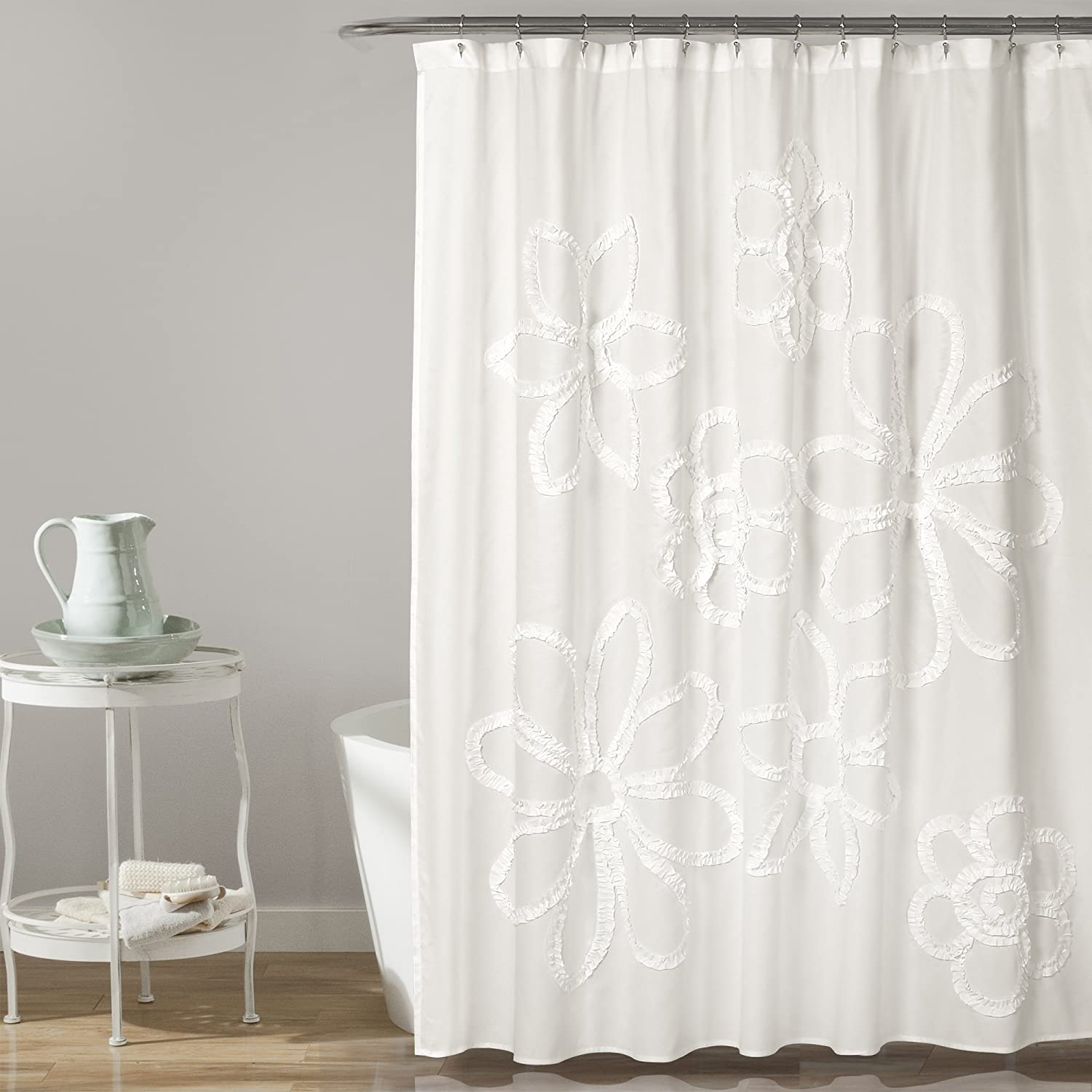 "Lush Decor, White Ruffle Flower Shower Curtain | Floral Textured Shabby Chic Farmhouse Style Design, x 72, 72"" x 72"""