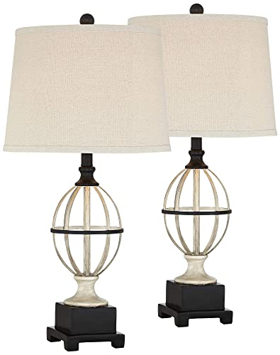 Sloan Country Cottage Table Lamps Set of 2 Open Cage Bronze Metal Oatmeal Drum Shade for Living Room Bedroom Bedside Nightstand Office Family – Regency Hill