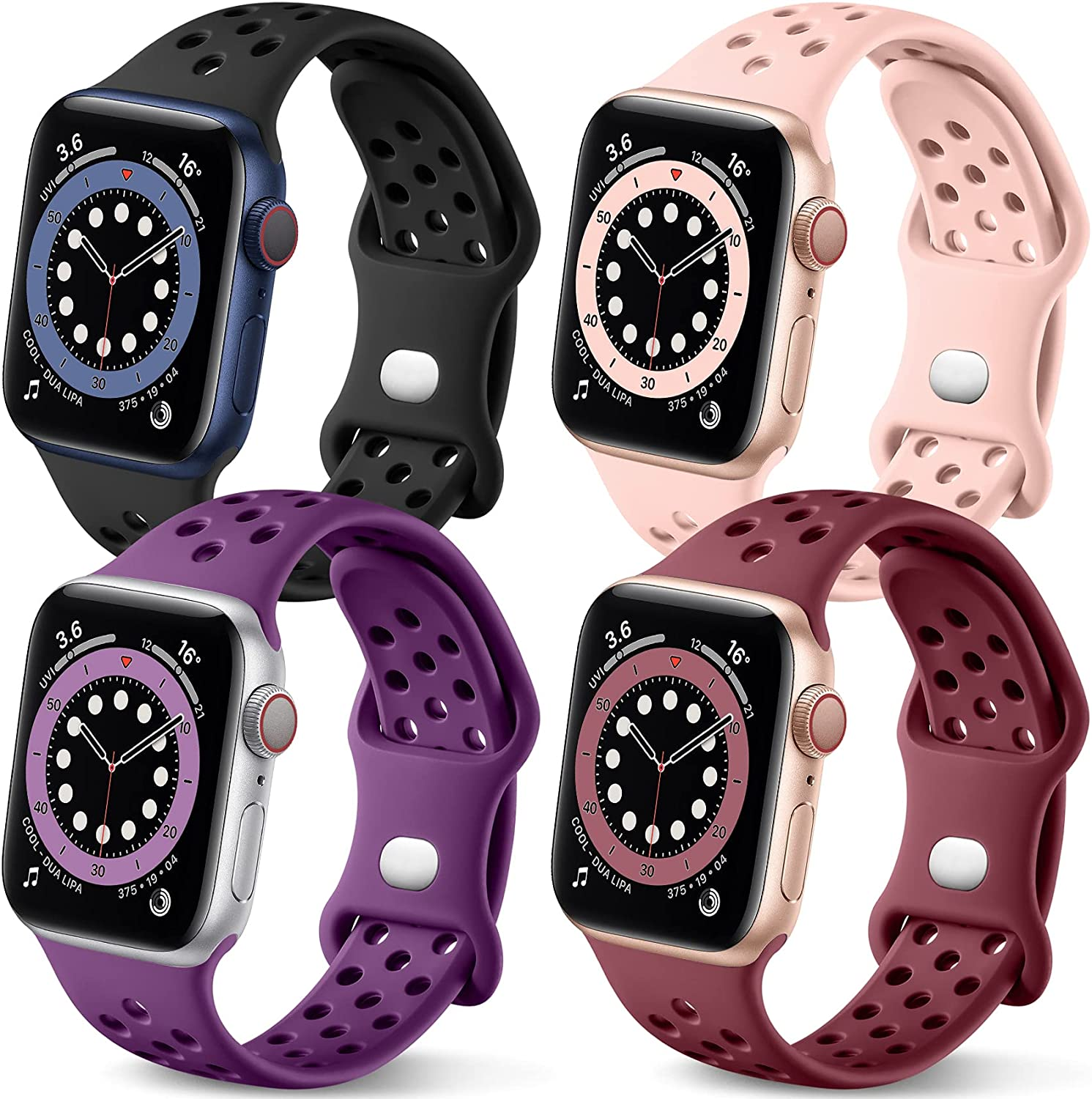 Getino Compatible with Apple Watch Band 40mm 38mm for Women Men iWatch SE & Series 6 5 4 3 2 1, Stylish Breathable Soft Silicone Sport Bands,4 Pack, Black/Pink/Purple/Wine Red