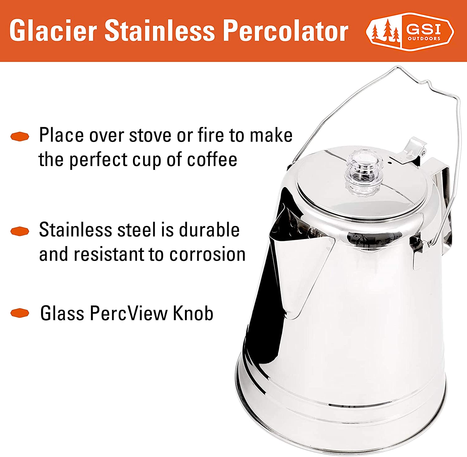 GSI Outdoors Glacier Stainless Steel Percolator Coffee Pot | Ultra-Rugged for Brewing Coffee Over Stove and Fire | Ideal for Group Camping