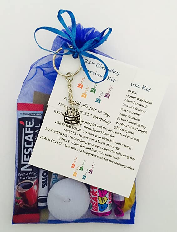 21st Birthday Survival Gift Kit Fun Happy Present For Him Her Choose From Lilac Or Blue Royal Amazoncouk Office Products