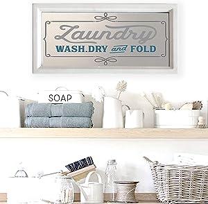 "Farmhouse Laundry Room Decor I Laundry Wash Dry and Fold Sign on Wood Framed Mirror, 16.5"" x 8.25"""