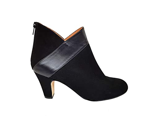 Gennia XEBIEN - Botines Negros de Mujer en Piel con Cierre de Cremallera + Tacon Botier 6 cm y Punta Redonda Cerrada: Amazon.es: Zapatos y complementos
