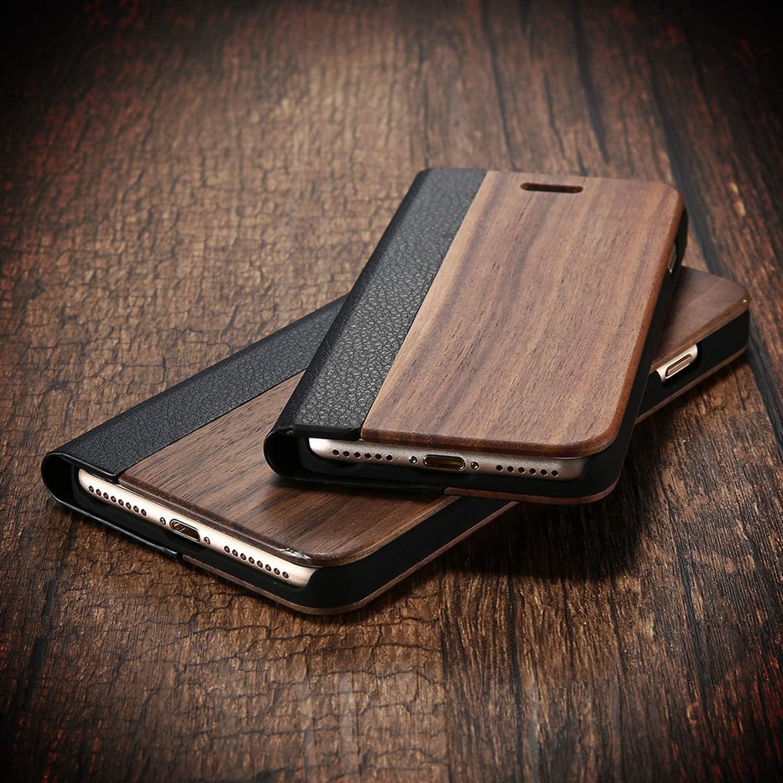 Étui de protection à rabat en bambou pour iPhone 11 8 7 6 6S Coque ...